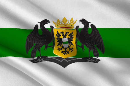 Flag of Groningen is the main municipality as well as the capital city of the eponymous province in the Netherlands. 3d illustration