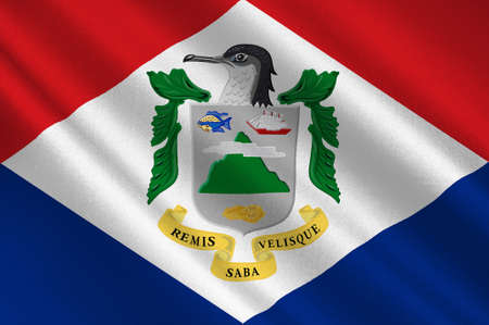 Flag of Saba is a Caribbean island and the smallest special municipality of the Netherlands. 3d illustration