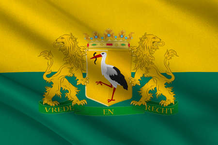 Flag of The Hague is the seat of government in the Netherlands, and the capital city of the province of South Holland. 3d illustration