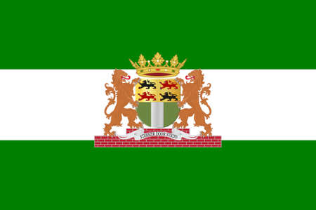 Flag of Rotterdam is a city in South Holland, the Netherlands. 3d illustration