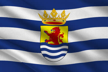 Flag of Zeeland is the westernmost province of the Netherlands. 3d illustration