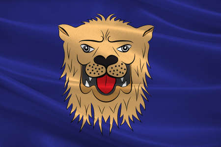 Flag of Linkoping is a capital city of Ostergotland County in southeastern Sweden. 3d illustration