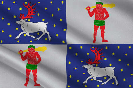 Flag of Norrbotten County in Lappland province of Sweden. 3d illustration Stock Photo