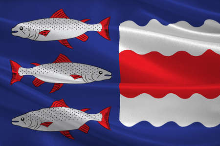 Flag of Vasternorrland County in the north of Sweden. 3d illustration Stock Photo