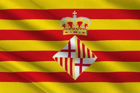 Flag of Barcelona is a province of eastern Spain. 3d illustration