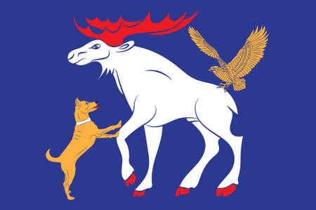 Flag of Jamtland is a historical province in the center of Sweden. 3d illustration