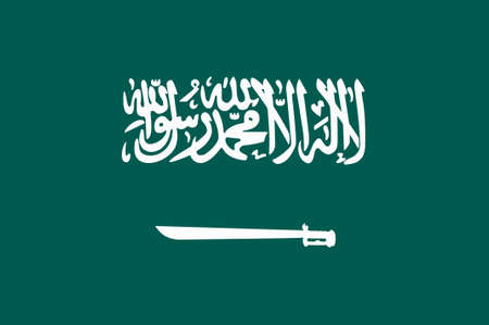 Flag of Saudi Arabia is an Arab sovereign state in Western Asia constituting the bulk of the Arabian Peninsula. 3d illustration Stock Photo