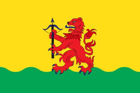 クロノベルク郡の旗はスウェーデン南部の郡です。3Dイラスト