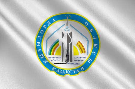 Flag of Kyzylorda Region is a region of Kazakhstan. 3d illustration