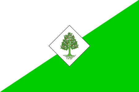 Flag of Lloret de Mar is a Mediterranean coastal town in Catalonia, Spain. 3d illustration