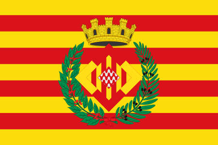 Flag of Girona is a province in the northeastern part of the autonomous community of Catalonia of Spain. 3d illustration