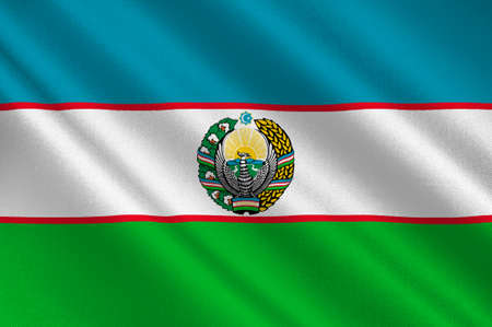 Flag of Uzbekistan is one of only two doubly landlocked countries in the world. Located in Central Asia. 3d illustration