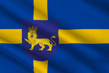 Flag of Uppsala is the capital of Uppsala County and the fourth largest city of Sweden. 3d illustration