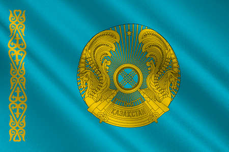 Flag of Republic of Kazakhstan is a transcontinental country in northern Central Asia and Eastern Europe. 3d illustration Stok Fotoğraf