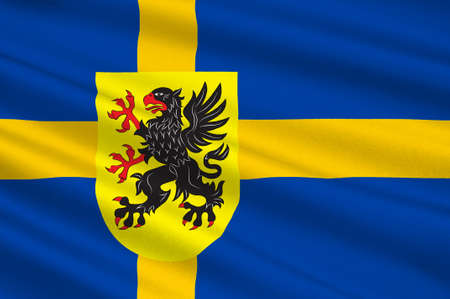 Flag of Sodermanland is a historical province on the south eastern coast of Sweden. 3d illustration Stock Photo