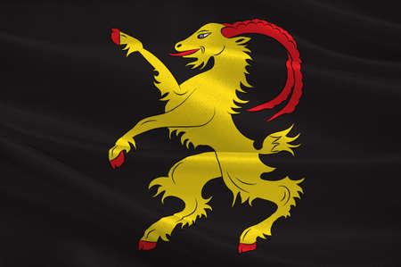 Flag of Halsingland is a historical province in central Sweden. 3d illustration