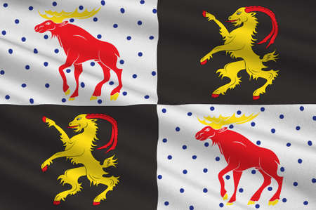 Flag of Gavleborg is a county on the Baltic Sea coast of Sweden. 3d illustration