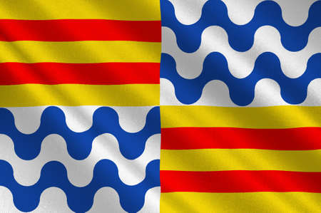 Flag of Badalona is a municipality to the immediate north east of Barcelona in Catalonia, Spain. 3d illustration
