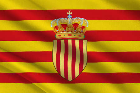 Flag of Catalonia is an autonomous community of Spain. 3d illustration