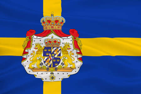Flag of Sweden officially the Kingdom of Sweden is a Scandinavian country in Northern Europe. 3d illustration Stock Photo