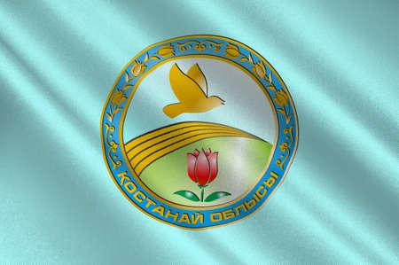 Flag of Kostanay Region is a region of Kazakhstan. 3d illustration Stok Fotoğraf