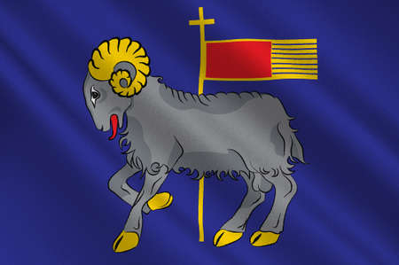 Flag of Gotland is a province, county, municipality, and diocese of Sweden. 3d illustration