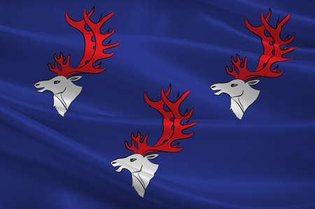 Flag of Umea is a capital city of Vasterbotten County in the north of Sweden. 3d illustration