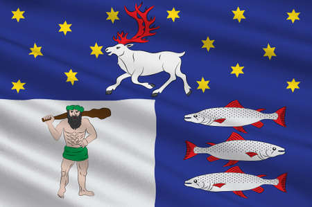Flag of Vasterbotten County in the north of Sweden. 3d illustration
