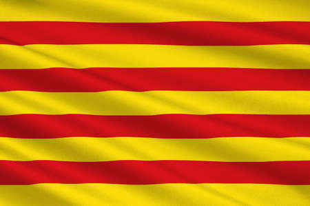 Flag of Catalonia is an autonomous community of Spain. 3d illustration