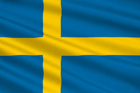 Flag of Sweden officially the Kingdom of Sweden is a Scandinavian country in Northern Europe. 3d illustration Banco de Imagens