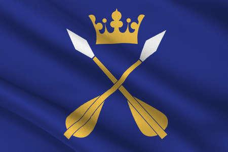 Flag of Dalarna or Dales is a historical province in central Sweden. 3d illustration