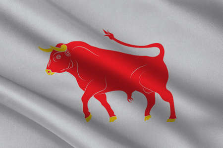 Flag of Dalsland is a province in Gotaland in southern Sweden. 3d illustration  Stock Photo