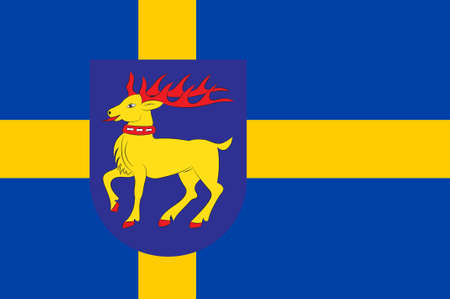 Flag of Oland is the second largest Swedish island and the smallest of the traditional provinces of Sweden. 3d illustration