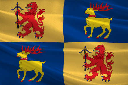 Flag of Kalmar County is a county in southern Sweden. 3d illustration