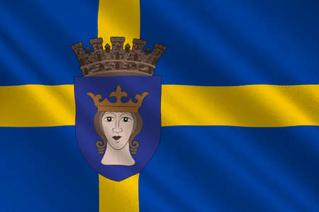 Flag of Stockholm is the capital of Sweden. 3d illustration Stock Photo
