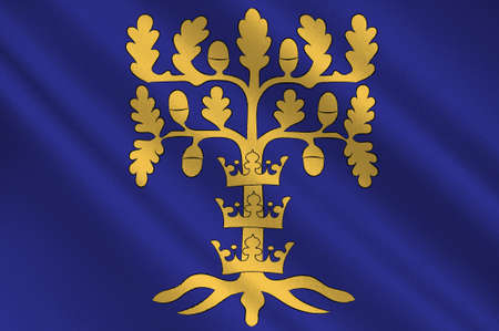Flag of Blekinge is one of the traditional provinces of Sweden. 3d illustration  Stock Photo