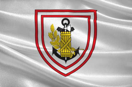 Flag of Fort-de-France is the capital of Frances Caribbean overseas department of Martinique. 3d illustration Stok Fotoğraf