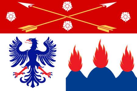 Flag of Orebro County in Nerke province of central Sweden. 3d illustration