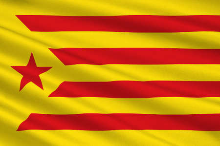 Flag of Estelada blue, Catalonia is an autonomous community of Spain. 3d illustration Stock Photo