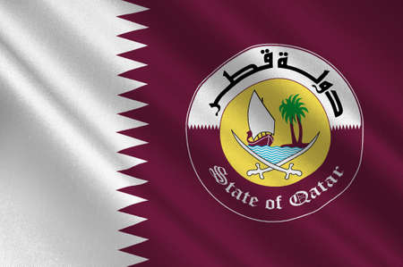 Flag of Qatar is a sovereign country located in Southwest Asia, occupying the small Qatar Peninsula on the northeastern coast of the Arabian Peninsula. 3d illustration Stock Photo