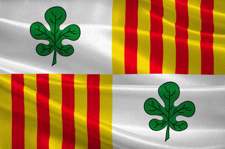 Flag of Figueres is the capital of the comarca of Alt Emporda, in the province of Girona, Catalonia, Spain. 3d illustration