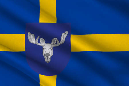 Flag of Ostersund is an urban city in Jamtland County in the middle of Sweden. 3d illustration  Stock Photo