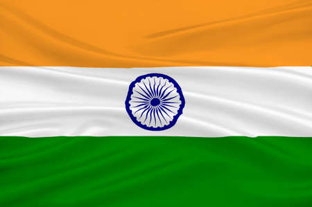 Flag of India, officially the Republic of India is a country in South Asia. 3D illustration