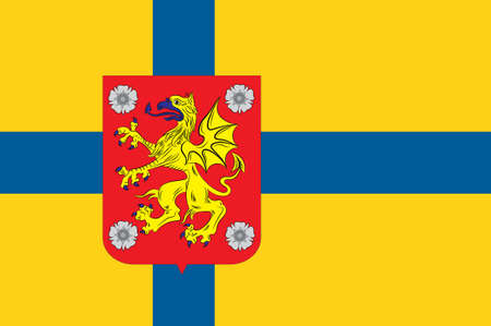 Flag of Ostergotland County in southeastern Sweden. 3d illustration Stock Photo