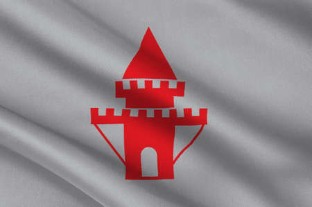 Flag of Nykoping is a locality and the seat of Nykoping Municipality, Sodermanland County, Sweden. 3d illustration