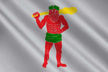 Flag of Lappland is a province in northernmost Sweden. 3d illustration