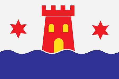 Flag of Kalmar is a city in Kalmar County of Sweden. 3d illustration