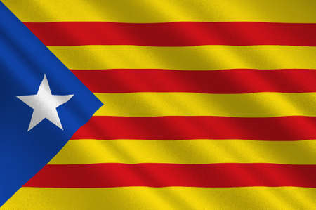 Flag of Estelada blue, Catalonia is an autonomous community of Spain. 3d illustration Stock fotó