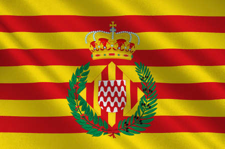Flag of Girona is a city in the northeast of the Autonomous Community of Catalonia in Spain. 3d illustration Stock Photo