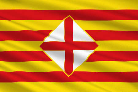 Flag of Barcelona is a province of eastern Spain. 3d illustration